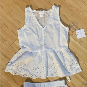 White eyelet cotton pajama set